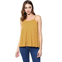 STYLEBAY Women Yellow Solid Cami Top (CST031, XS)