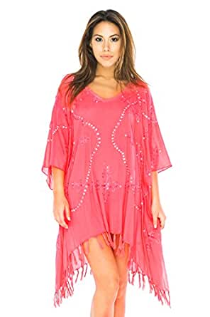 Kaftan Square Sequin Coral at Amazon Women's Clothing store: