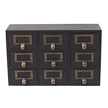 Kate and Laurel Desktop Solid Wood Apothecary Drawer Set, Includes 9 Drawers with Metal Label Holders, Rustic Black Finish