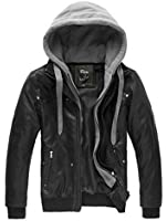 Wantdo Men's Fashion Faux Jackets Pu Leather Jackets With Removable Hood With Gift WantDo Men s Fashion Winter