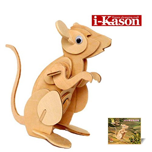 Authentic High Quality i-Kason® New Favorable Imaginative DIY 3D Simulation Model Wooden Puzzle Kit for Children and Adults Artistic Wooden Toys for Children - Mouse