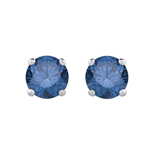 1/2 ct. Blue - I1 Round Brilliant Cut Diamond Earring Studs in 14K White Gold by Katarina