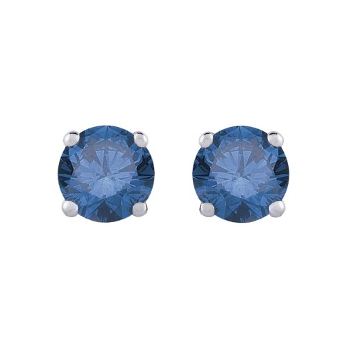 14K White Gold Blue Diamond Earrings