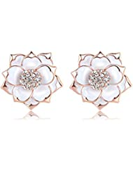 Yiwu Crystal White 18k Rose Gold Metal Drop Earring Fashion Jewellery For Women