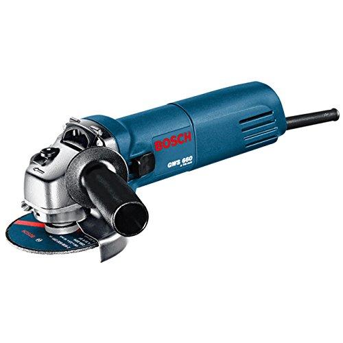 Bosch-Professional-GWS-660-Winkelschleifer-660-W-Nennaufnahme-11000-min-Leerlaufdrehzahl-115mm-Schleifscheiben--2-Loch-Schlssel-Flanschmutter-Spannmutter