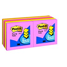 Post-it Pop-up Notes, 3 x 3-Inches, Assorted Neon Colors, 12-Pads/Pack