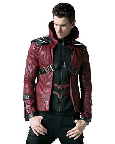 Y-254 Mens Punk Stand Collar PU Leather Bomber Jackets Motorcycle Jacket (M, Red)