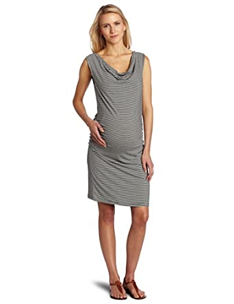 Three Seasons Maternity Women's Maternity Cowlneck Side Rouche Stripe Dress, Black White Stripe, Large