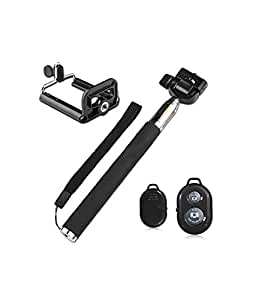 Zaicus Extendable Selfie Stick With Bluetooth Remote For All Zte Mobiles - Black