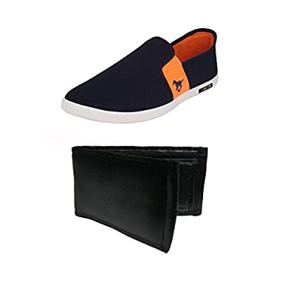 Earton Combo Pack of 2 Men's Blue Loafers Shoes With Wallet