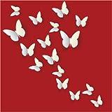 12PCS 3D White Butterfly Wall Stickers Art Decal PVC Butterflies Home DIY Decor