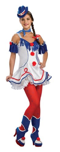 Ring Master Red White & Blue Lady Rodeo Clown Costume Dress Adult