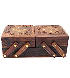 ITOS365 Jewellery Box for Women Wooden Flip Flap Handmade Gift, 8 Inches