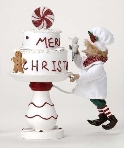 Better Homes & Gardens Elf Chef Decorating Cake Christmas Figurine 29154