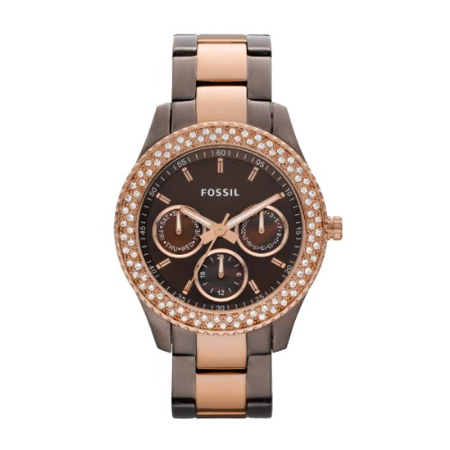 Fossil Ladies Stella Watch Es2955 With Brown Multi Eye Dial, Stone Encrusted Topring , Brown Ip Case And Bracelet