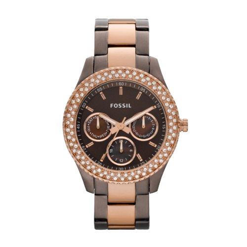 Fossil Ladies Stella Watch Es2955 With Brown Multi Eye Dial, Stone Encrusted Topring , Brown Ip Case And Bracelet