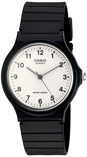 Casio Men's MQ24/7B Quartz Watch with White Dial Analogue Display and Black Resin Strap