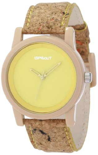 Sprout Unisex St/5516Ylck Yellow Dial Cork Strap Eco-Friendly Watch