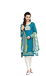 DARPAN TEXTILES Ethnicwear Women's Dress Material(Turquoise_Free Size)