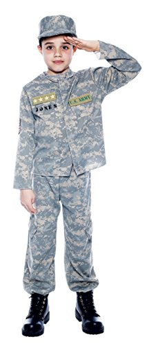 Boys Us Army Officer Kids Child Fancy Dress Party Halloween Costume