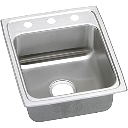 Elkao|#Elkay LRAD1522603 18 Gauge Stainless Steel 15 Inch x 22 Inch x 6 Inch single Bowl Top Mount Kitchen Sink 3 Hole,