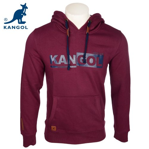 Kangol Men's Burgundy Branded Hooded Sweatshirt in Size Small