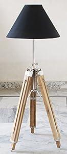 Designer Royal Nautical Tripod Floor Lamp Antique Look Teak Wood Chrome finish Tripod Stand by Shiv Shakti Enterprises