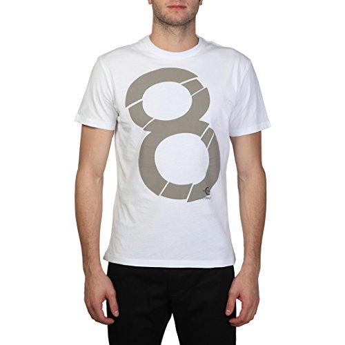 Cerruti 1881 - T-Shirt 100% cotone maniche corte numero 8 stampato - Uomo (XL) (Bianco/Grigio)
