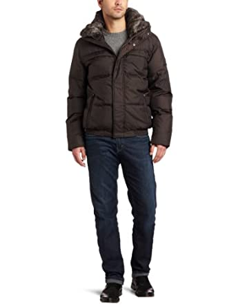 Marc New York by Andrew Marc Men's Union Down Filled Nylon Bomber Jacket with Fur Collar, Espresso, Medium