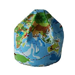 Home & Garden Direct Childrens Kids Beanbag With Handle Bean Bag Chair World Multi