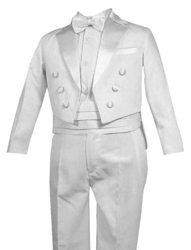New Ring Bearer Boys Tuxedo Tail White Suit Tux Set From Baby To Teen (4T) front-774492