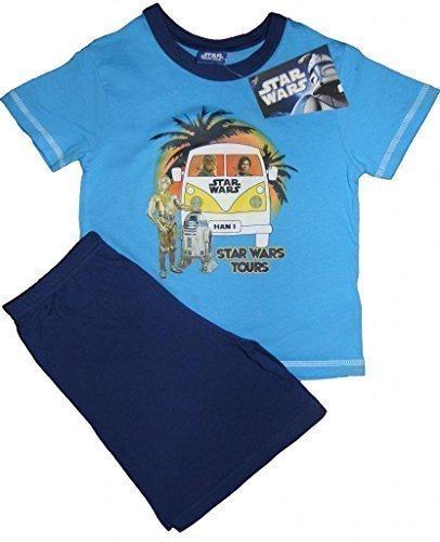Jungen Pyjama Star Wars Kurzer Sommer Schlafanzug mit CP3O und VW Campingbus Größen 98 Bis 134-140 - Mehrfarbig, 122-128