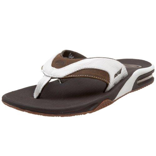 Reef Men's Leather Fanning White/Brown Flip FlopR2416WBR 10 UK