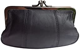 Visnow® 100% Genuine Leather Double-Pocket Change Purse with Clasp (Black)