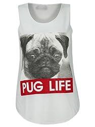 Womens Ladies Sleeveless Pug Dog Thug Life Cami Tank Tshirt Top Vest Size 8-14