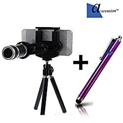 8X Zoom Universal Mobile Phone Telescope Camera Lens & Tripod+Adjustable Holder(random Colors)and Free Ascension stylus