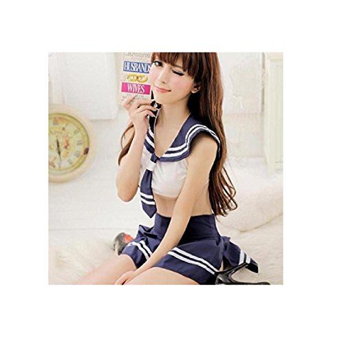 [NEW! Students Sailor Lingerie Japanese School Girl Uniform Cosplay Sexy Anime (One size fit S-M, Navy] (Easy Male Villain Costumes)