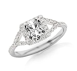 1.25 Carat Cushion Cut / Shape 14K White Gold Halo Style Double Row Split Shank Pave Set Diamond Engagement Ring ( E-F Color , SI2 Clarity )