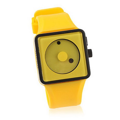 Cute Lovly Creative dot Women's Fashion Silicone Band Quartz Wrist Watch(yellow)