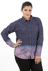 LastInch Ombre blue-pink denim full sleeve shirt washout effect