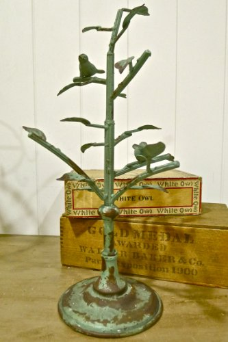 Nikki - Bird Jewelry Stand Tree with Branches and 2 Birds - Distressed Vintaged Green