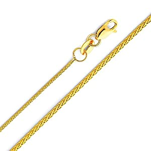 14K Yellow Gold 0.9mm Braided Wheat Chain Necklace with Lobster Claw Clasp - 18