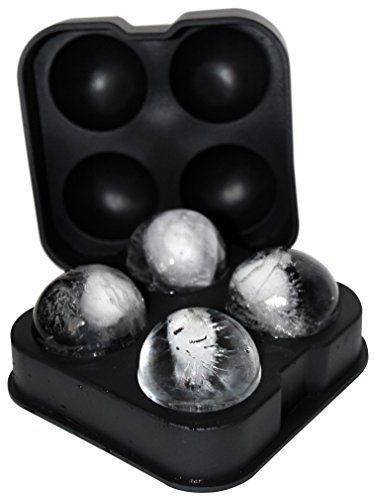 FROST BALLZ - #1 Whiskey Ice Ball Mold - Makes 4 Ice Cube Spheres in 1 Tray - Unique Round Ice Maker for Scotch, Bourbon, Whisky, Cocktails, Mixed Drinks and Sipping on the Rocks - Balls are 1.77""
