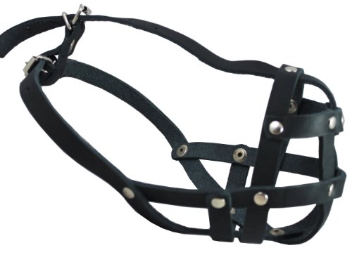 Real Leather Secure Dog Mesh Basket Muzzle #134 Black (Circumference 12