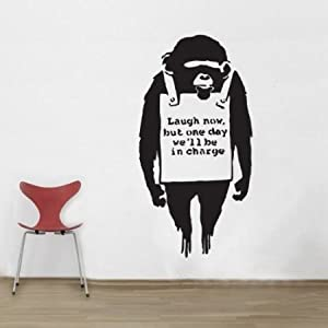 BANKSY MONKEY laugh Now - animal - vinyl wall decals