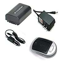 Compatible Accessory Kit High Capacity Rechargeable Lithium ion Battery and AC/DC Battery Charger ( Power plug & Car ) for / fits digital camera/camcorder model/parts no SONY DCRDVD103