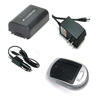 Compatible Accessory Kit High Capacity Rechargeable Lithium ion Battery and AC/DC Battery Charger ( Power plug & Car ) for / fits digital camera/camcorder model/parts no SONY UX5