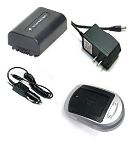 Compatible Accessory Kit High Capacity Rechargeable Lithium ion Battery and AC/DC Battery Charger ( Power plug & Car ) for / fits digital camera/camcorder model/parts no SONY DCR SR42A