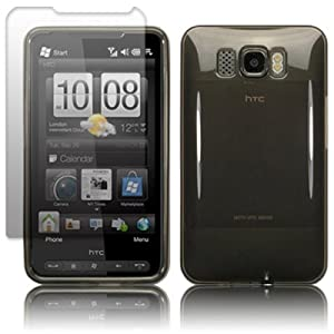 HTC HD2 GEL CASE - BLACK, WITH SCREEN PROTECTOR PART OF THE QUBITS ACCESSORIES RANGE