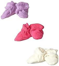 Zutano Unisex-Baby Newborn Cozie Fleece 3 Piece Baby Bootie Gift Set, Fuchsia/Cream/Orchid, 6 Months
